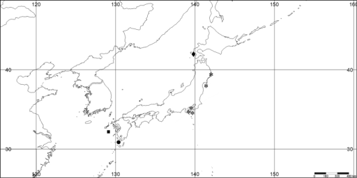 Distribution of Melithaeasagamiensis sp. n. (*), BMNH 62.7.16.62(61?) (♦), Melithaeasatsumaensis sp. n. (●), and Melithaeasuensoni sp. n. (■).