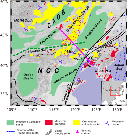 Simplified tectonic map of the study region showing the location of the NCISP-6 seismic array.The magenta triangles represent the seismic stations. CAOB—Central Asian Orogenic Belt, NCC—North China Craton, GDL—Gudaoling metamorphic core complexes (MCC), KLQ—Kalaqin magmatic dome, XY—Xiuyan magmatic dome, and YWLS—Yiwulushan MCC. The map was created using the generic mapping tool (GMT) software included with the ETOPO2 model42.