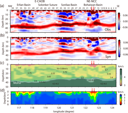 Synthetic CCP images compared with the observational CCP image, and the cross section of the crustal shear-wave velocity structure.(a) Observational CCP image calculated from the observed data; (b) CCP images calculated from the synthetic receiver functions; (c) shear-wave velocity structure of the crust and uppermost mantle compiled from the crustal models beneath each station; and (d) sedimentary structure. In the CCP images, red denotes the positive amplitude of the receiver function as annotated by the color bar, which indicates that velocity increases with depth. Blue denotes negative amplitudes and velocity decreases with depth. Certain station numbers are labeled on the top of the plot. Red arrows mark the surface site of the Tanlu Fault Zone.