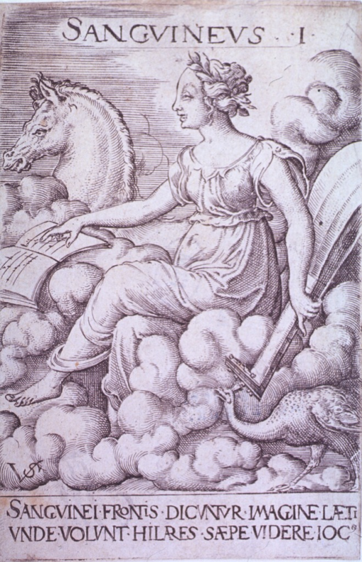 <p>A young woman rides in the clouds with various attributes of the sanguine temperament such as the horse Pegasus, a peacock, a lute and a music book.</p>