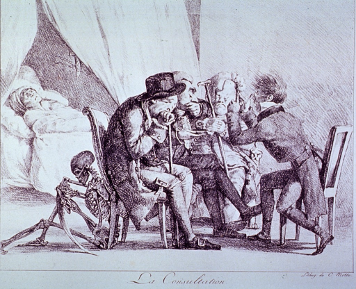 <p>Four physicians, attended by Death, talk among themselves by the bed of a moribund patient.</p>