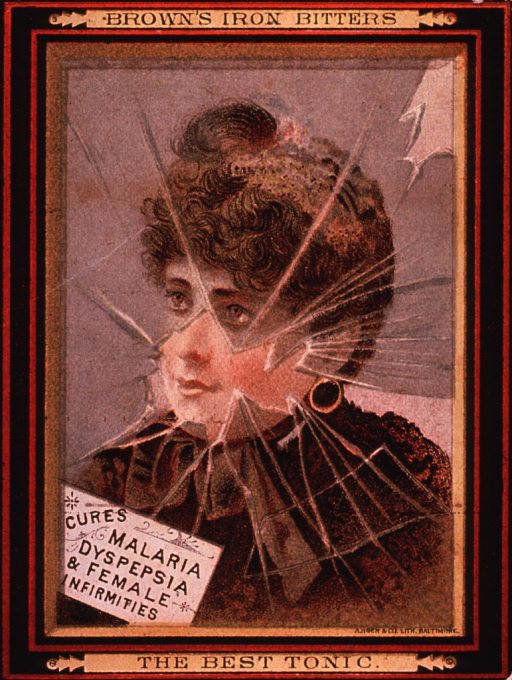 <p>This product contained cocaine.  Caption states that it &quot;cures malaria, dyspepsia &amp; female infirmities.&quot;  Visual motif:  Shows a woman behind broken glass.</p>