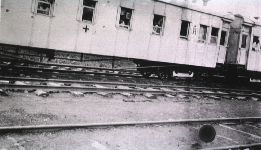 <p>An outside view of the Tzaravitch Red Cross train.</p>