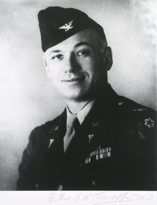 <p>Head and shoulders, full face, in uniform of army colonel, (SGO) and wearing campaign ribbons.</p>