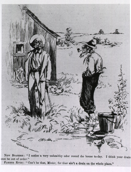 <p>Cartoon on poor drainage from a house.</p>