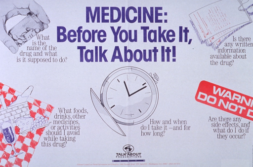 <p>White poster with blue and black lettering.  Title at top of poster, in center.  Visual images are illustrations of a hand holding a pill bottle, a picnic lunch, a pocket watch, a warning label, and three sheets of paper that appear to be drug information sheets.  Each illustration has a caption asking a question about the proper use of medications.  Note and publication information at bottom of poster.</p>