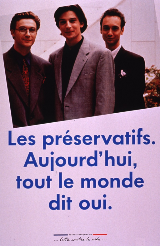 <p>White poster with blue lettering. The upper half consists of a photo reproduction of three young men from the waist up, all dressed in business suits. The publishing information is at the bottom of the poster in black print.</p>