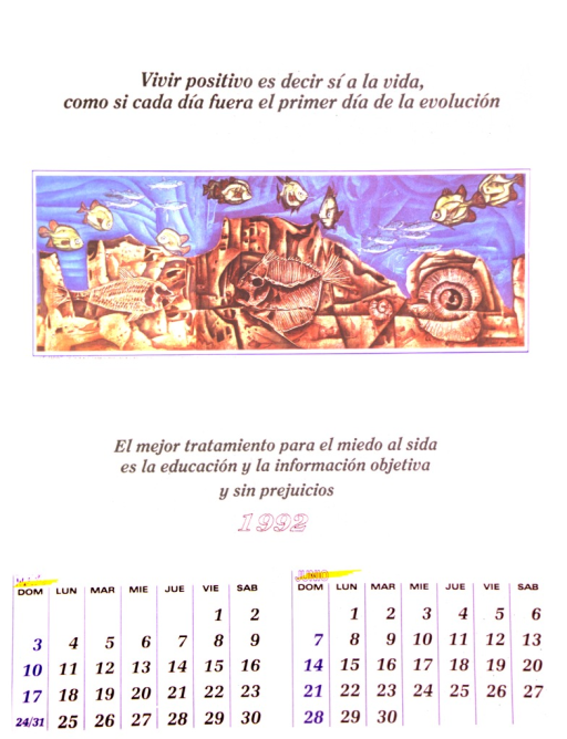 <p>The bottom of the poster is a calendar of the months May and June of 1992.  The top is a reproduction of an acrylic painting by Alvaro Gutierrez entitled &quot; Y el espiritu aleteaba sobre las aguas.&quot;  It shows green fish swimming over a coral reef in which fossils of fish and shells are embedded.</p>