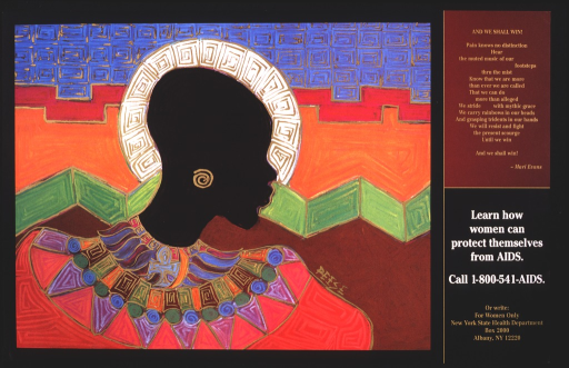 <p>Multicolor poster with tan and white lettering.  Visual image is a slightly abstract illustration of a woman in African-style dress.  A poem, the title, and publisher information are on the right side of the poster.</p>