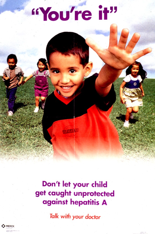 <p>Multicolor poster.  Title at top of poster.  Upper portion of poster features a color photo reproduction.  A young boy in the foreground reaches out his hand while three children run in the background.  Caption below photo.  Publisher information in lower left corner.</p>