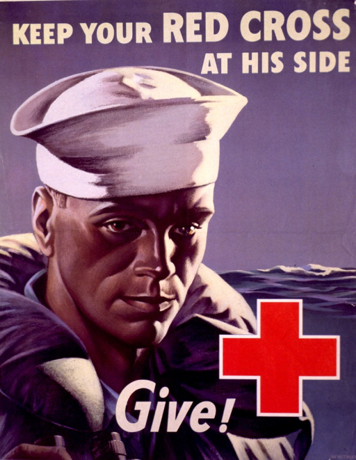 <p>Poster showing the head and shoulders of a sailor with the sea behind him. The Red Cross logo is in the lower right corner.</p>