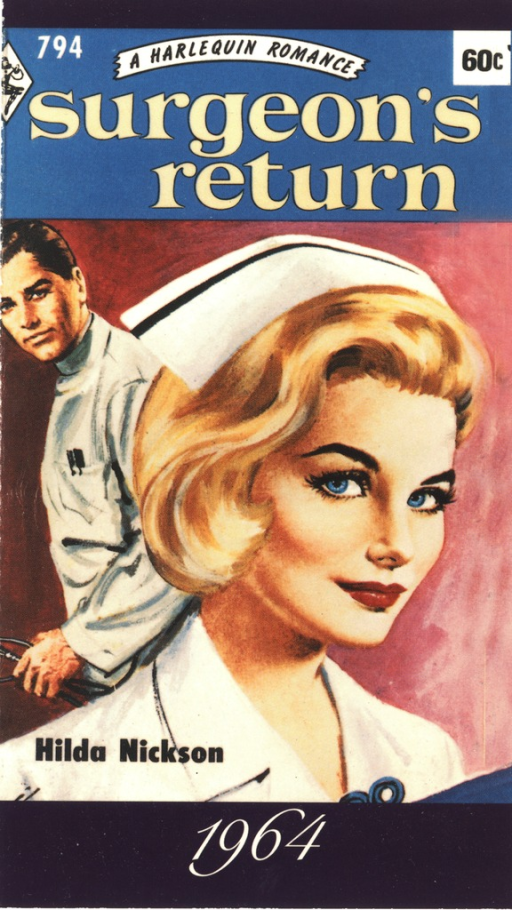 <p>Postcard featuring the cover of Hilda Nickson's 1964 romance novel &quot;Surgeon's return&quot;.</p>