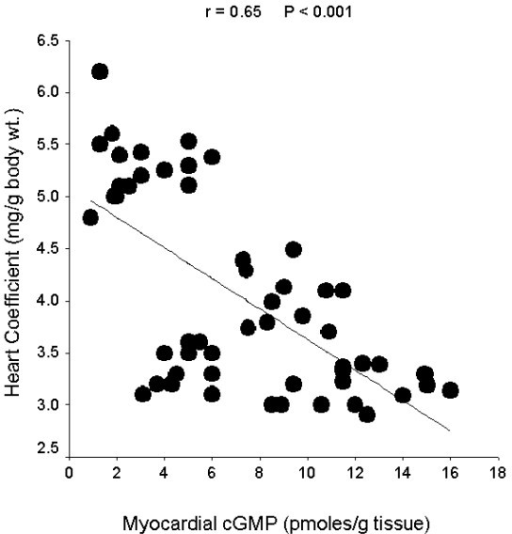 Linear regression curve for myocardial cGMP level and heart coefficient.
