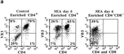 Cells from SEA-treated mice suppress control CD4+ T cell  responses. (a) Purity of cells after purification with Ab and C′. (b) Anergic  cells from SEA-treated mice inhibited effector generation by normal  CD4+ T cells in mixed wells. (c) Non-CD4+ cells from SEA-treated mice  were sufficient for the suppression to be transferred between in vitro cultures. Live CD4+ T cell recovery on day 4 is shown.