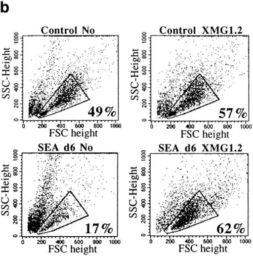Anti–IFN-γ reverses SEA-induced anergy. Treatment with anti–IFN-γ Ab increased CD4+ T cell recovery and viability after SEA treatment. (a) CD4+ T cells from SEA-treated and control AND mice were cultured with neutralizing concentration of anti–IFN-γ Ab (XMG1.2). Live cell  recovery on day 4 is shown. Cells recovered from above cultures were analyzed for live cell content. (b) Percentage of live cells as determined by F/S. (c)  Percentage of CD4+ cells that stained positively with PI. Gated populations of CD4+ cells are shown.