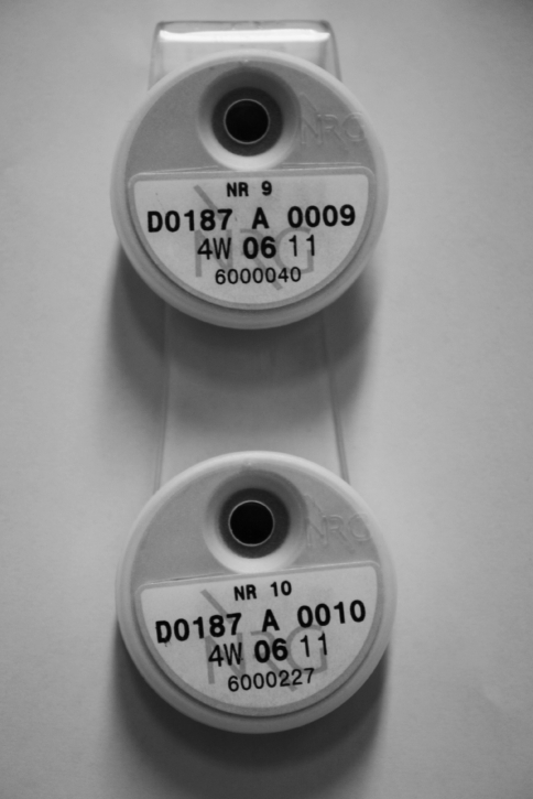 The specially designed holder with the two personal dosimeters