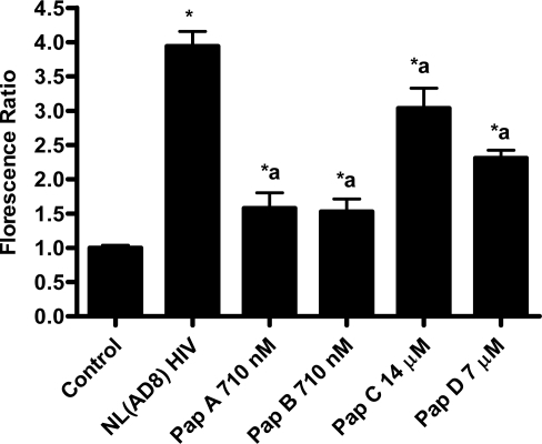 Papuamides B-D inhibit HIV entry. Papuamides A-D were tested at the stated concentrations against NL(AD8) virus in the virion based fusion assay. Control represents uninfected cells and NL(AD8) HIV represents untreated infected cells. Viral entry is reported as a fluorescence ratio calculated from the amount of blue versus green fluorescence, normalized to control. Results graphed as the mean ± standard error, n≥4. Fluorescence ratio was significantly different (p < 0.05) from control (*) or from untreated HIV infected cells (a).