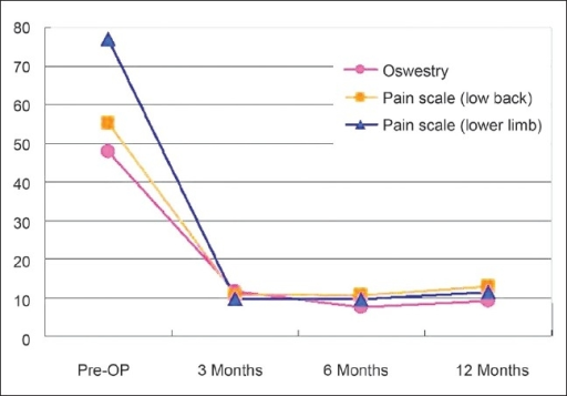 Mean values of visual analog scale scores for back pain, leg pain, and Oswestry Disability Index results in the local anesthesia group