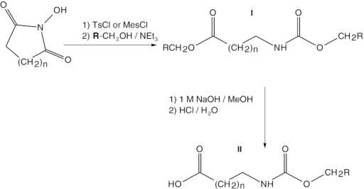 Scheme of the reaction of obtaining Nα-urethane-protected β-alanine and γ-aminopropionic acid (GABA) derivatives