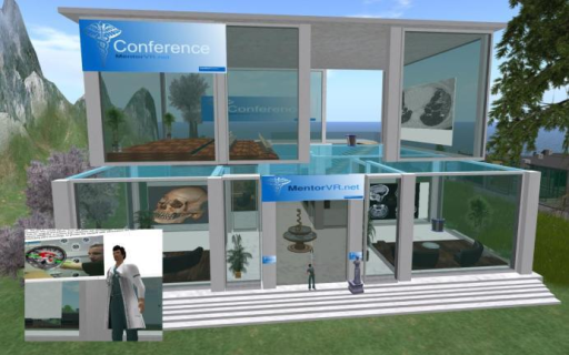 Photograph from Second Life showing the MentorSL meeting complex.Licensed under Creative Commons Attribution 2.0.