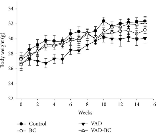 Mouse body weight throughout the study. Mice were weighed every week (Exp. 1). A trend towards lower body weight was noted in the VAD group (P = 0.072). Values are means ± SE, n = 15-16. Dunaliella treated group (BC); vitamin A-deficient diet group (VAD); vitamin A-deficient diet fortified with Dunaliella group (VAD-BC).