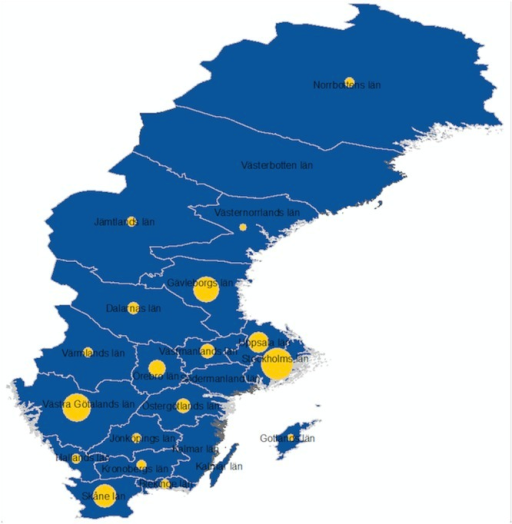MSM study participation per county in Sweden.