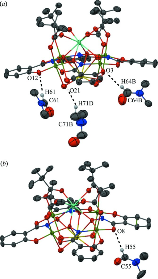 Inter­molecular C—H⋯O inter­actions between the metallacrown and the DMF mol­ecules of the lattice. For clarity the inter­actions have been divided into two sections (a) and (b), only the H atoms (white) involved in the inter­actions have been included, and only the atoms involved in the inter­actions have been labelled. See Fig. 1 ▸ for display details.