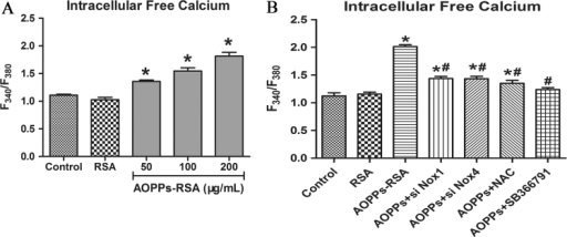 Intracellular free calcium was detected by Fura-2/AM. (A) The levels of calcium were shown in F340/F380. (B) DRG neurons were incubated with AOPPs-RSA (200 μg/mL) with or without Nox1 siRNA, Nox4 siRNA, NAC (2 mM, 2 h), or SB366791 (1 μM, 2 h). F340/F380 was used to indicate Intracellular free calcium. Data represent mean±SEM of at least 3 independent experiments. *P<0.05 versus Control group. # P<0.05 versus AOPPs-RSA group.