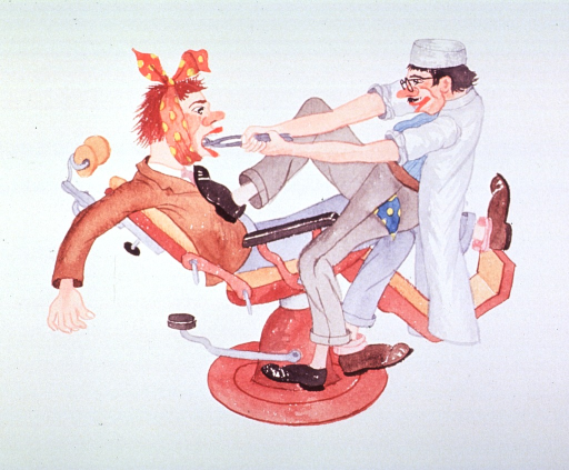 <p>Caricature:  A dentist, with his coat sleeves rolled up and his foot on the chest of a patient sitting in a dental chair, is attempting to extract a tooth.</p>