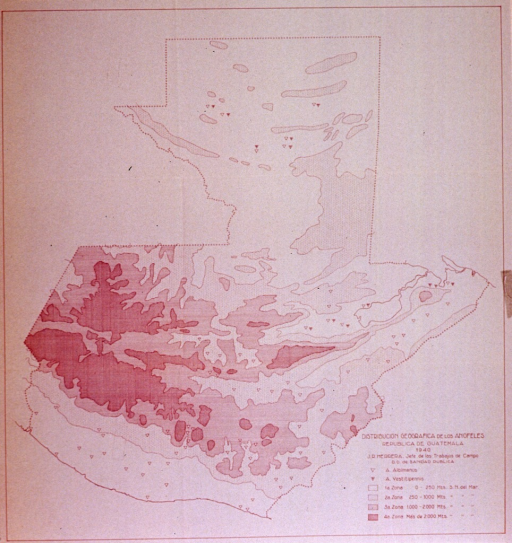<p>1940 map of the geographical distribution of mosquitos in Guatemala.</p>
