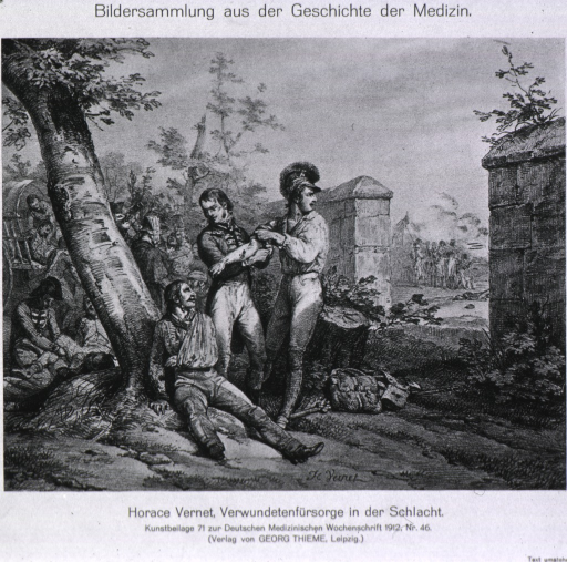<p>View of a field surgeon at work near a battlefield.</p>