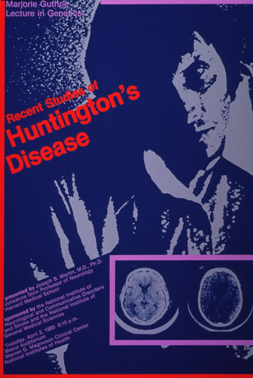 <p>Teal and gray poster with red-orange and lavender lettering and highlights, announcing lecture, April 1985.  Also lists speaker, sponsors, date, time, and location.  Speaker was Joseph B. Martin, M.D., Ph.D., Professor of Neurology, Harvard Medical School.  Largest feature of poster is computer-generated image of human head and torso.  Smaller, clearer image of two brain scans, bounded by lavender, is superimposed on human figure.</p>