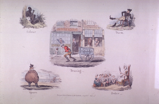 <p>A man is sitting under a tree smoking a cigar (colour).  A man is leaning back in a chair with one leg extended and his left hand is resting on a cane (form).  A man is pulling a cart past store fronts that include a drawing academy and a dentist's office (drawing).  A person with a disproportionate posterior is looking  toward the water where sail boats are afloat (space).  Children are sitting on benches; some with books in front of them, others are sewing.  A stern looking woman, holding a switch, is sitting in a chair facing the children (order).</p>