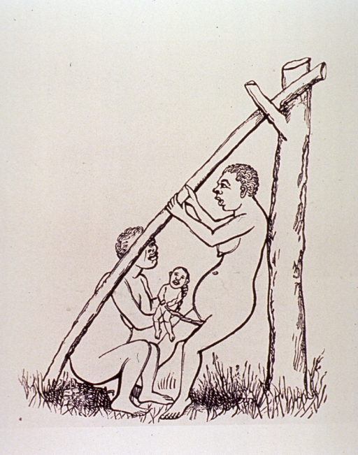 <p>A woman has given birth in an upright position; she is leaning against a tree and holding on to a pole that is the hypotenuse of the right angle formed by the tree and the ground. Another woman holds the infant which is still attached to the mother.</p>