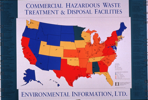 <p>Multicolor poster with blue and black lettering.  Title at top of poster.  Visual image is a map of the United States.  States are presented in one of five different colors, based on the amount of hazard waste generated.  Symbols plot the locations of facilities such as incinerators, land fills, etc.  Names of the companies running the facilities are listed on the sides of the poster.  Publisher information near lower right corner.</p>
