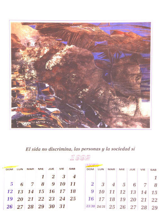 <p>The bottom of the poster is a calendar of the months July and August of 1992.  The top is a reproduction of an ink drawing by Donaldo Altamirano entitled &quot;Zopilotes de la paz.&quot;</p>