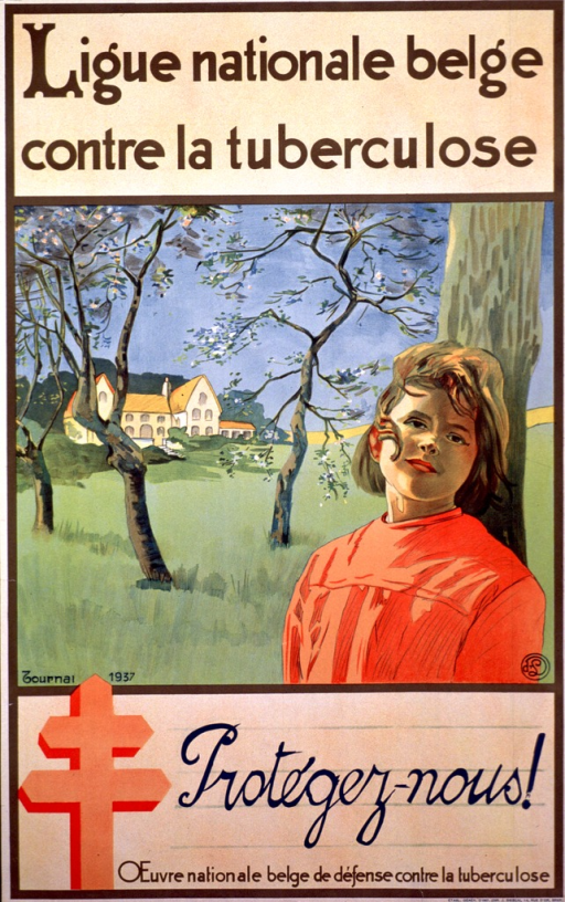 <p>Poster with the top and bottom sections in beige with the information in brown lettering and the title in dark green script. The logo for the Ligue nationale belge contre la tuberculose is in the lower left corner in orange. The middle section of the poster shows a young woman from the chest up, leaning against a tree with landscape and a house in the background. The bottom left corner of the picture has &quot;Journal 1937&quot;.</p>