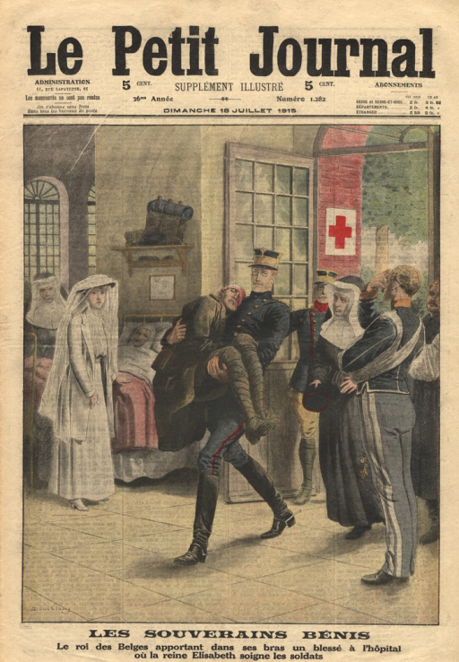<p>The king, in military uniform, is shown carrying a wounded soldier into a hospital ward.  He is followed by a nun.  A military official with an arm in a sling salutes as the king passes by.  The queen stands in the background, next to a bed in which another wounded patient lies.</p>