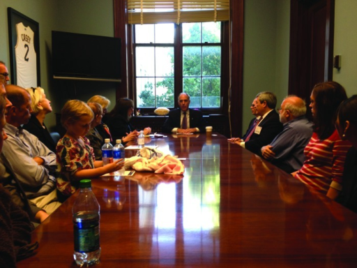 Figure 2. Photo with Senator Bob Casey (center). To his immediate right are Margaret Foti, Mariell Jessup, and Barbara Duffy Stewart between two cancer survivors. To the Senator's left are Charles Sawyers, Carlos Arteaga, Yair Argon, and students. Photo taken by Wafik El-Deiry.