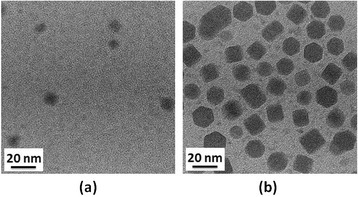 TEM images of CIS QDs synthesized under reaction times of (a) 1 and (b) 8 h.