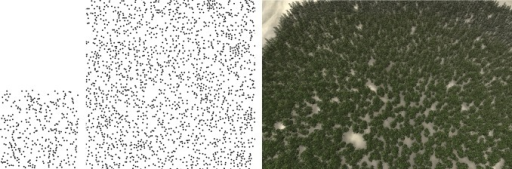 Synthesis of the sample obtained from a practical forest by field measurement.Left: sample; Middle: synthesized result; Right: 3D forest scene.