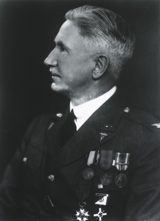 <p>Half-length, seated, left profile; wearing uniform with several medals.</p>