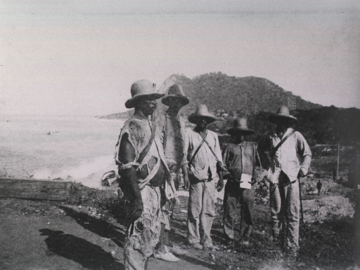 <p>View of five insurgents, dressed in ragged attire, near the Bay.</p>
