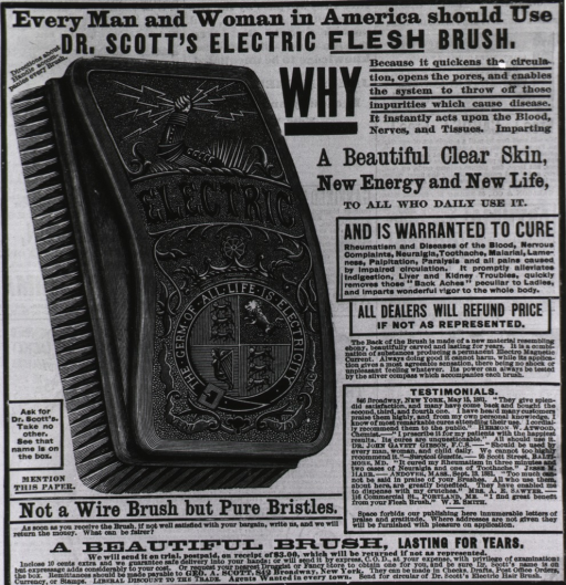<p>Everyman and woman in America should use Dr. Scott's Electric Flesh Brush...[advertisement for cure-all brush].</p>