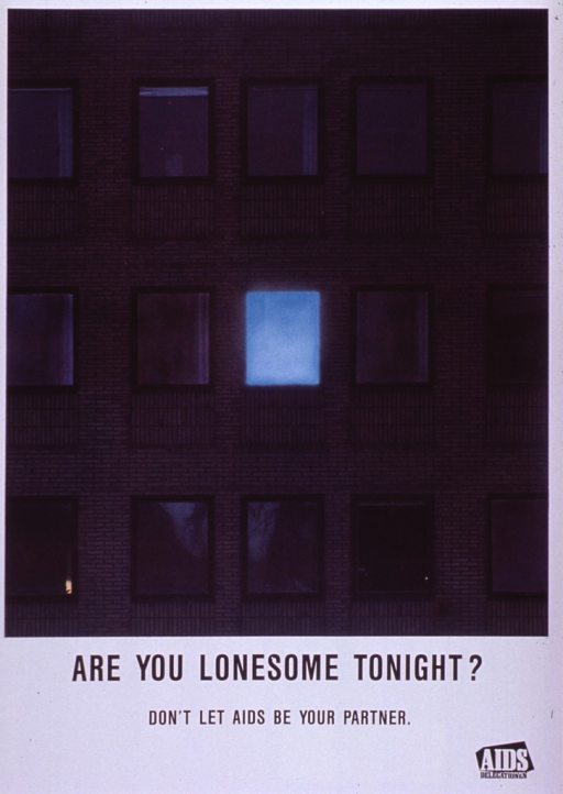 <p>Multicolor poster with black and white lettering.  Visual image is a color photo reproduction featuring the brick exterior of an apartment building.  All of the windows are dark except one.  Title and caption below image.  Publisher information in lower right corner.</p>