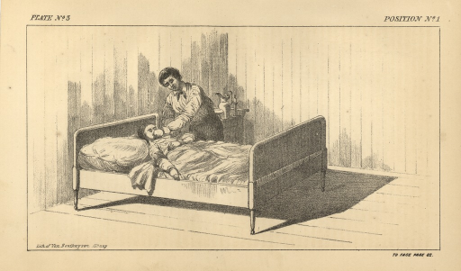 <p>Image of plate no. 3, facing p. 82, Lith. of Van Benthuysen, Albany. Drawing of a possible described position for how Henry Budge is thought to have murdered his wife, Priscilla Budge. She is lying in bed, covered up to her chest. Her right arm is stretched toward the right edge of the bed, and her left arm is bent across her chest. The man is standing on the left side of the bed, his left hand over her mouth and chin, slicing her throat with a long knife in his right hand.</p>