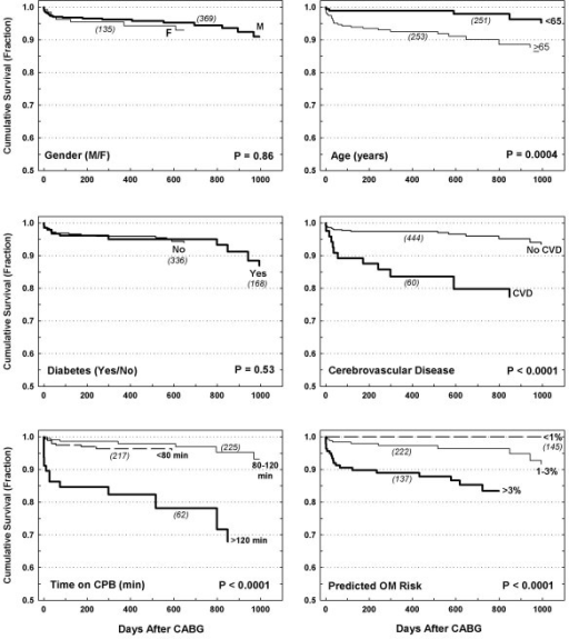 Effects of gender, age, diabetes, cerebrovascular disease, time on CPB, and operative mortality (OM) on midterm survival. P value reflects log-rank test results.
