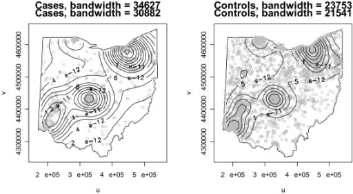 Contours of estimated kernel density functions for cases and controls with UTM coordinates.