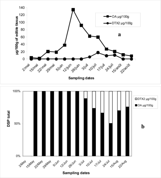 Evolution of OA and DTX2 (μg/100g of edible tissues) in mussels from Oualidia lagoon harvested between May and August 2006 (a) and their respective percentages (b).