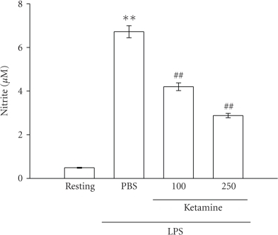 Effect of ketamine on nitrite formationin LPS-activated microglia. Microglia (5 × 105 cells mL−1)  were treated with ketamine (100 and 250 μM) or an isovolumetric PBS buffer for 30 minutes, followed bythe addition of LPS (100 ng mL−1) for 24 hours. Cell-freesupernatants were assayed for nitrite production as described in Section 2. Data are presented as the means ± S.E.M. (n = 3). **P < .01, compared to theresting group; ##P < .01, compared tothe PBS-treated group.
